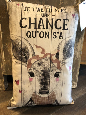 Coussin Barn ''Une chance qu'on s'a''