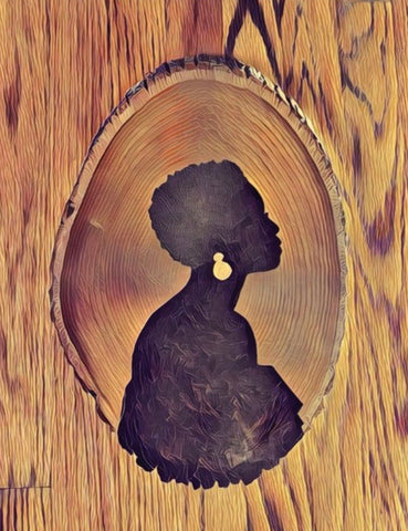 Female Afro Cameo - A2 Blank Greeting Card