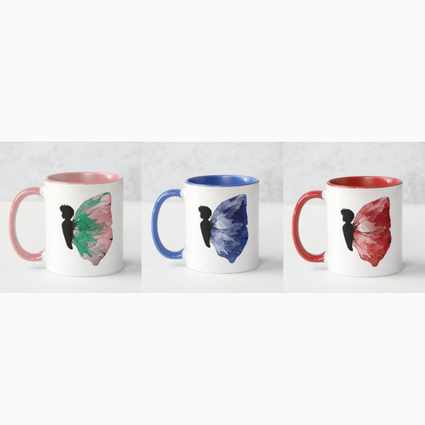 Black Butterfly - Illustrated 11oz White Mug
