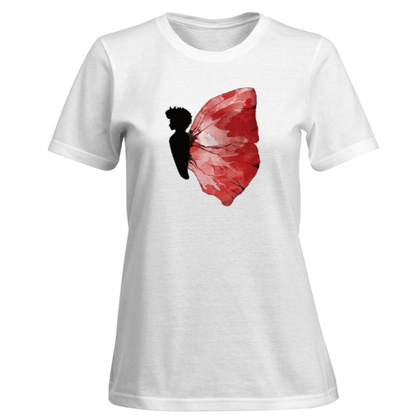 Women's T-shirt Black Butterfly Red & White Wings