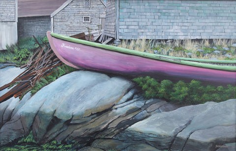 Freedom '55 New Acrylic Painting of a Rustic Boat