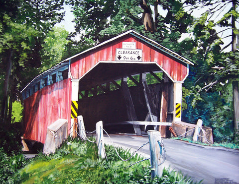 covered bridge Pennsylvania art