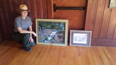 framed artwork in cabin