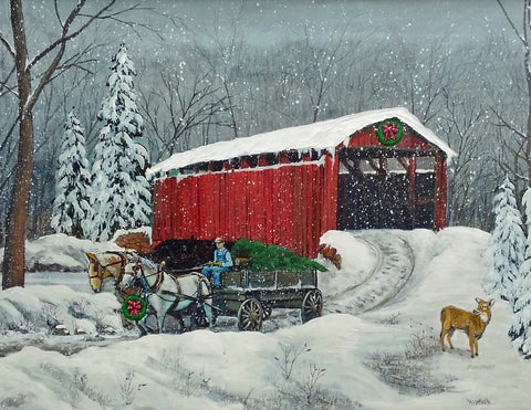Christmas Covered Bridge: Art and Giclée Prints