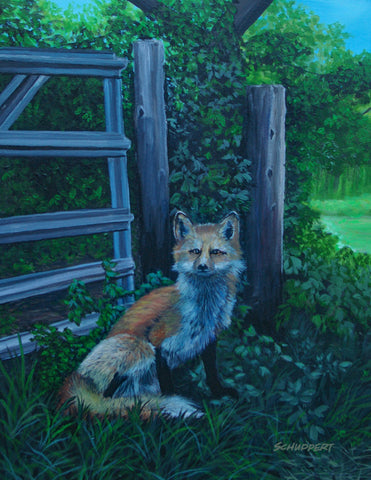 Fox Awakens from Sleep: Original Fine Art Painting