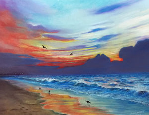 Sunrise at Surfside Beach: Original Pastel Artwork