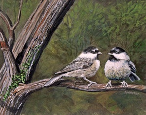 Chickadees: Original Acrylic Painting