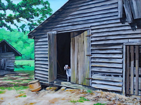 Goat in Old Barn: Art and Giclée Print