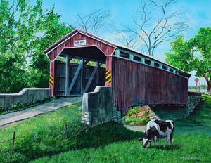 Gottlieb Brown Covered Bridge: Original Fine Art Painting