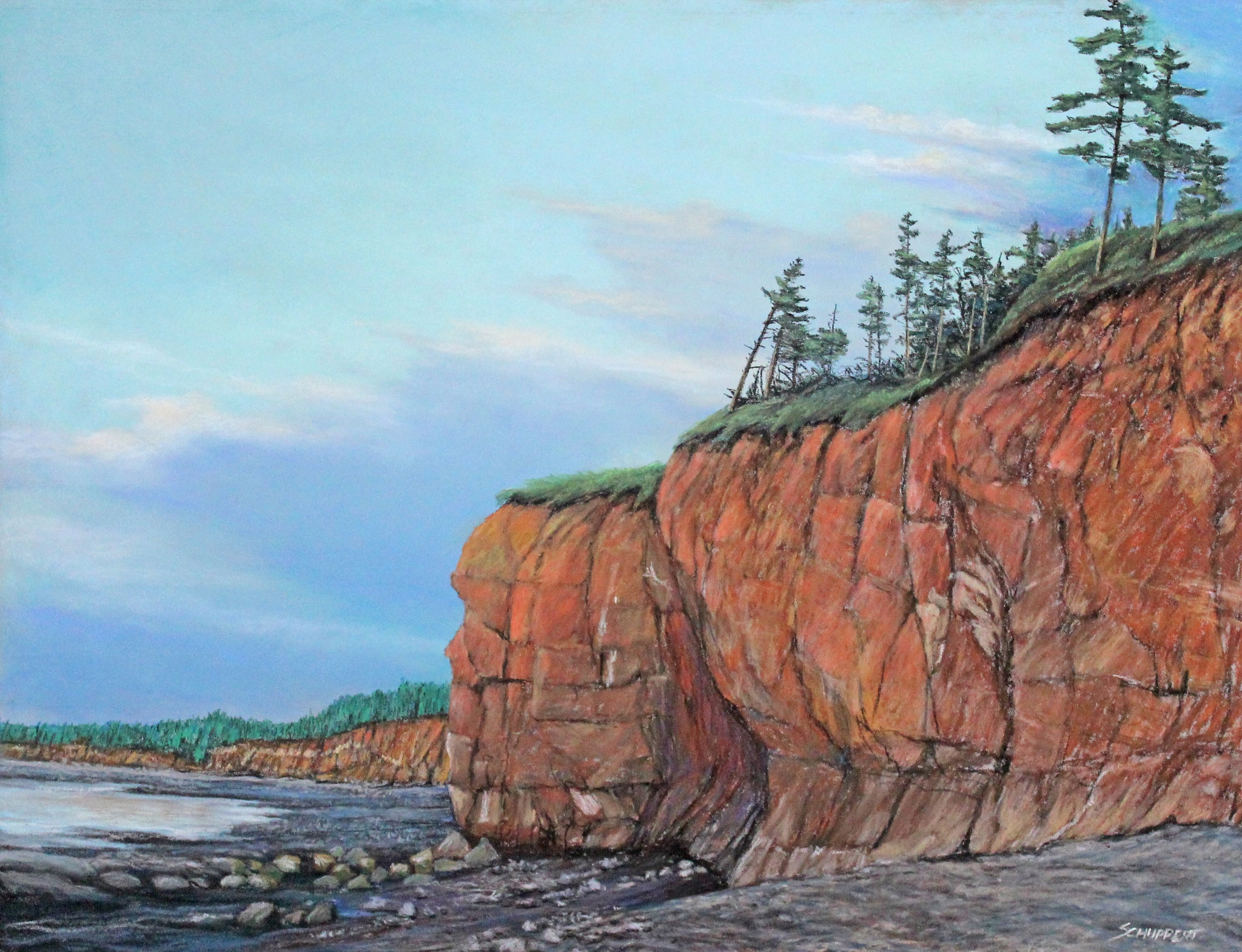 Low Tide at Bay of Fundy: Original Pastel Painting
