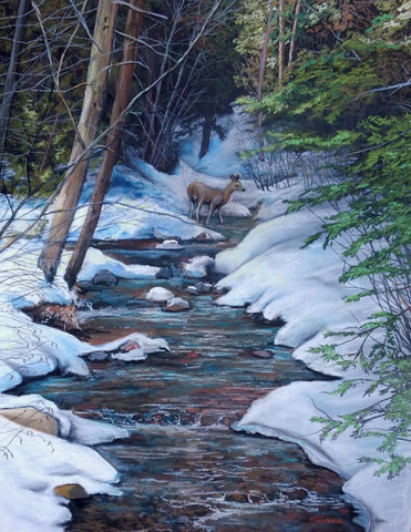 Winter Stream and Deer: Original Pastel Painting