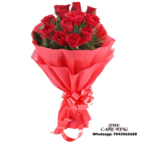 12 Pieces Red Roses Bookey