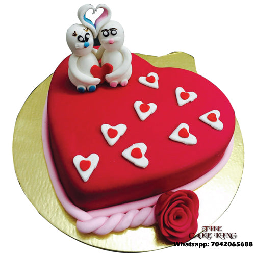 Love Red Heart Anniversary Cake