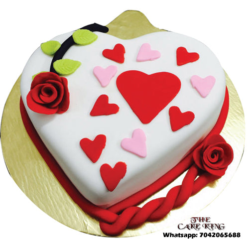 Heart Shape Anniversary Cake - The Cake King