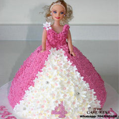 Barbie Cake White Floral - The Cake King
