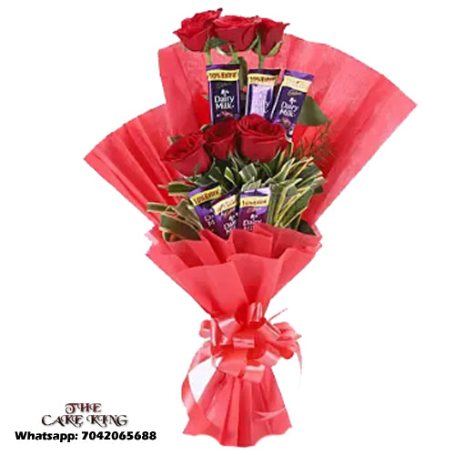 6 Pieces Chocolate and Red Roses Bookey