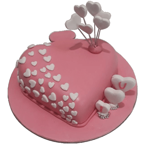 Fondant Heart Shape Anniversary Cake - The Cake King