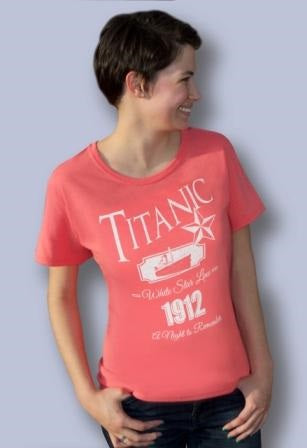 LADIES CORAL TEE WITH WHITE LETTERING SIZE SMALL TO XLARGE