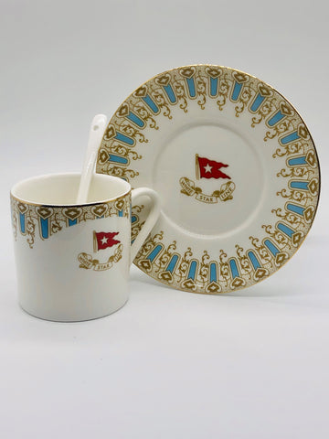 WHITE STAR LINE WISTERIA PATTERN CUP AND SAUCER WITH SPOON