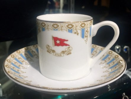 WHITE STAR LINE WISTERIA PATTERN DEMITASSE CUP AND SAUCER