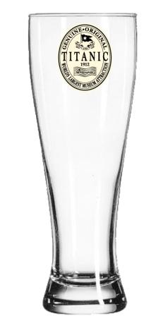 TITANIC ORIGINAL LABEL PILSNER GLASS