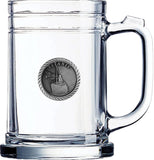 PEWTER EMBLEM CLEAR GLASS MUG