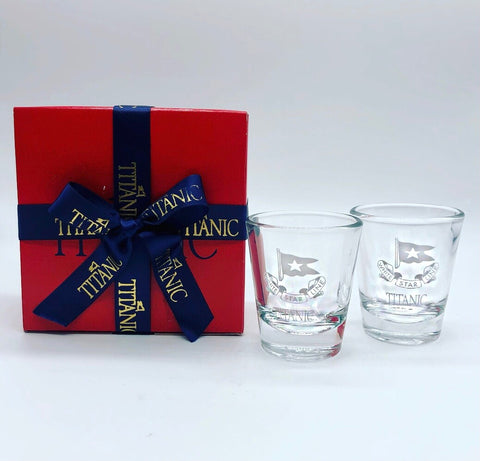 CLEAR ETCHED WHITE STAR LINE SHOT GLASS
