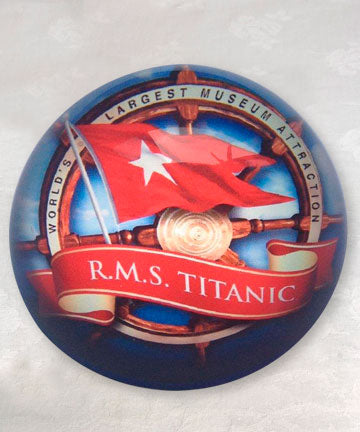 CUSTOM WHITE STAR LINE GLASS PAPERWEIGHT