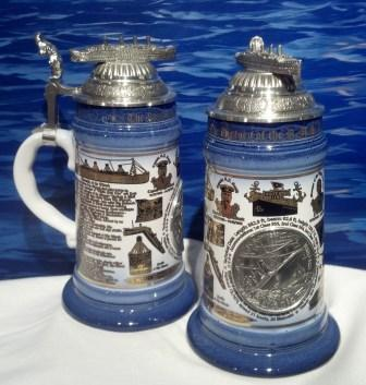 LIMITED EDITION STEIN WITH SHIP ON TOP