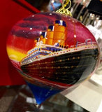 TITANIC SHIP AT SUNSET TEARDROP GLASS ORNAMENT