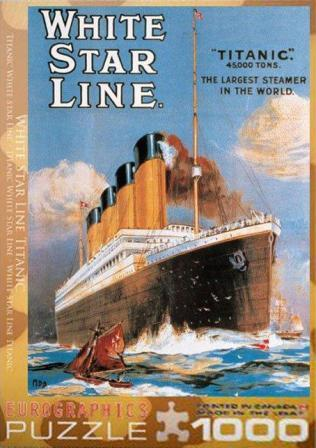 TITANIC FULL COLOR GRAPHIC WHITE STAR LINE PUZZLE 1000 PIECES
