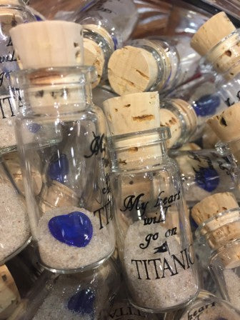 """MY HEART WILL GO ON ""  TITANIC HEART & SAND IN A BOTTLE"