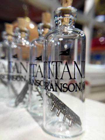 PEWTER TITANIC IN A GLASS BOTTLE