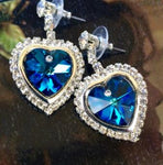 BLUE HEART EARRINGS CRAFTED WITH BEAUTIFUL SWAROVSKI CRYSTAL ELEMENTS