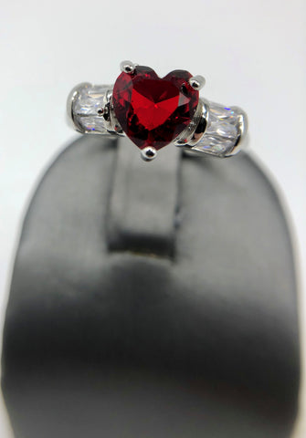 RED HEART CZ RING