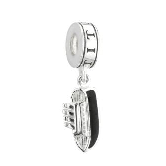 PANDORA COMPATIBLE CRYSTAL HEART OR TITANIC DANGLE SET IN STERLING SILVER
