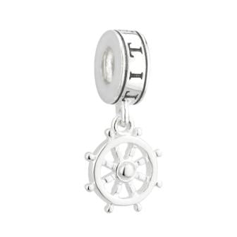 STERLING SILVER TITANIC SHIP WHEEL DANGLE PANDORA COMPATIBLE