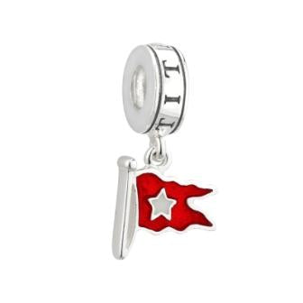 STERLING SILVER & ENAMEL WHITE STAR LINE FLAG DANGLE, PANDORA COMPATIBLE