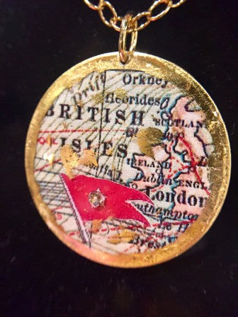 SINGLE SIDED CUSTOM MAP NECKLACE