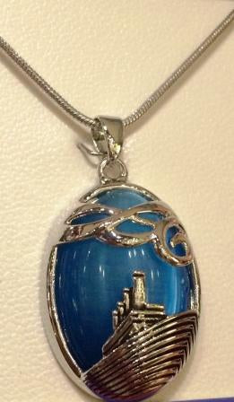 AQUA CAT EYE SHIP NECKLACE
