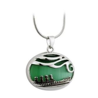 GREEN CAT EYE SHP NECKLACE