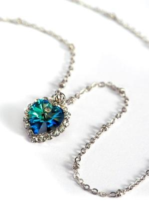TITANIC BLUE CRYSTAL HEART CHIP NECKLACE BEAUTIFULY MADE WITH SWAROVSKI CRYSTAL