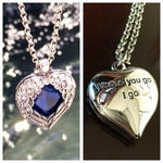 "IDA STRAUS WINGED CRYSTAL HEART NECKLACE INSCRIBED ON BACK "" WHERE YOU GO I GO"""