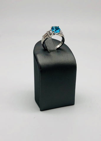 ICE BLUE ROUND & CLEAR CZ RING