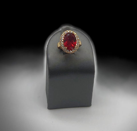 ROUND RED AND CLEAR CZ GOLD RING