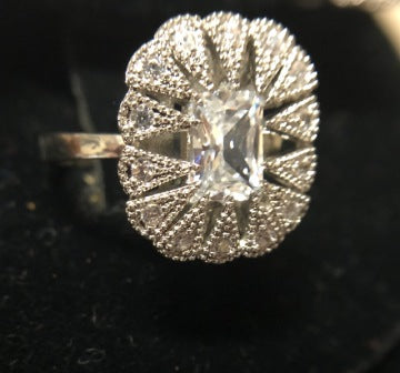 PRICE VICTORIAN CLEAR STONE BURST RING