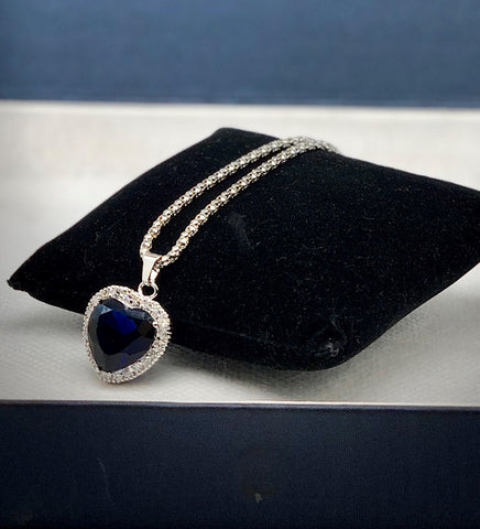 TITANIC CZ BLUE HEART NECKLACE
