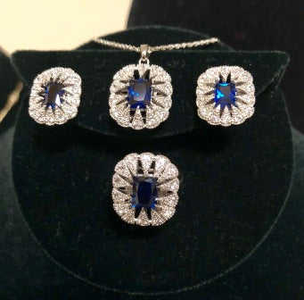 VICTORIAN BLUE STONE BURST EARRINGS