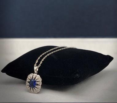 VICTORIAN BLUE STONE BURST NECKLACE