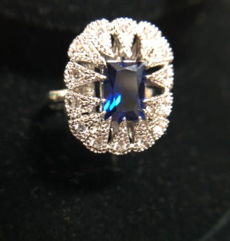 VICTORIAN BLUE STONE BURST RING